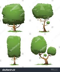 set green trees four trees different stock vector 353746997