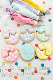 Decorating Easter Eggs With Icing by Royal Icing Easter Egg Puzzle Cookies The Cookie Writer