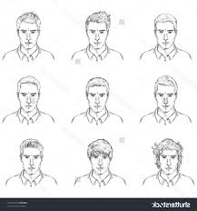 types of male hairstyles vector set of sketch male faces types of