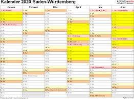 Baden Wuttemberg Kalender 2020 Baden Württemberg Ferien Feiertage Pdf Vorlagen