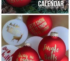 carol advent calendar using vinyl on ornaments