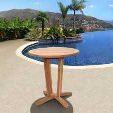 Patio Bistro Table Amazonia Nile Teak Patio Bistro Table Sc Victor The Home Depot