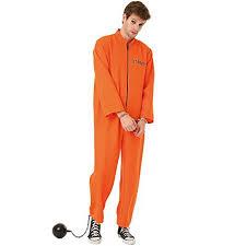 prison jumpsuit costume conniving convict s costume jailbird orange black