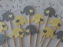 light yellow baby amazon com light yellow and grey elephant cupcake toppers