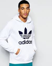 adidas originals hoodie with trefoil ap9000 in white for men lyst
