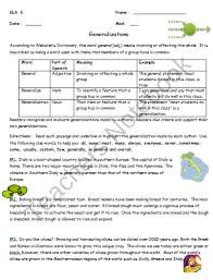 reading strategy worksheet generalizations product from your