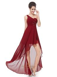 burgundy one shoulder high low bridesmaid dresses with beaded