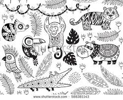 outline seamless pattern tropical animals ethnic stock vector