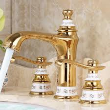Polished Gold Bathroom Faucets by Luxury Polished Brass Two Handles 3 Hole Bathroom Faucet