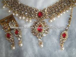 necklace red stone images Kundan choker pearl drop red stone necklace earring set buy jpg