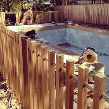 Backyard Pool Fence Ideas Modern Timber Pool Fence 40x40mm Battens With Steel Rail