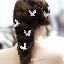 hair decoration shinning butterfly hair mini rhinestone pearl hair