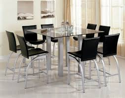 glass counter height table sets 9 piece dining set modern contemporary metal and glass square top
