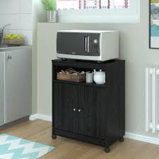 Kitchen Cabinet On Wheels Altra Furniture Landry Black Ebony Ash Microwave Cart 5206026pcom