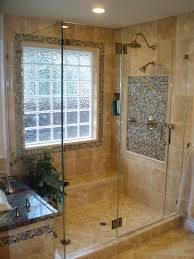 frameless corner shower enclosure with glass to glass hinges for