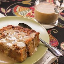 syrup pecan bread pudding with espresso creme anglaise