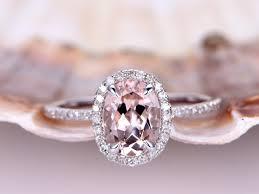 stone wedding rings images Morganite engagement ring oval cut rose gold halo ring bbbgem jpg