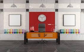 bureau coloré bureau coloré avec un bureau moderne dans un loft rendu banque d