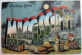 greetings from mississippi large letter postcard vintage