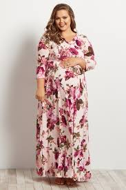 maxi dress with sleeves light pink floral draped plus maternity nursing maxi dress