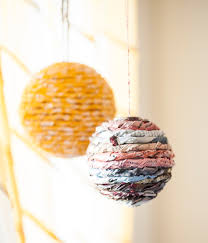 easy diy wrapped ball ornaments from magazine pages this blog is
