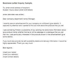 business letter inquiry sample just letter templates