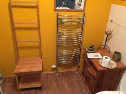 unusual ladder back bamboo wood chair with towel rail seat storage