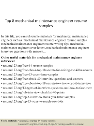 Maintenance Resume Sample Free Top8mechanicalmaintenanceengineerresumesamples 150520132425 Lva1 App6892 Thumbnail 4 Jpg Cb U003d1432128309