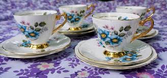 shabby chic vintage teacups and side plates set blue wild rose