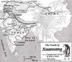 Map Of India And China by Map Of The Travels Of Xuanzang 629 Ad 645 Ad Journey To The