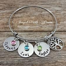 mothers day birthstone bracelet bangle bracelet personalized birthstone name