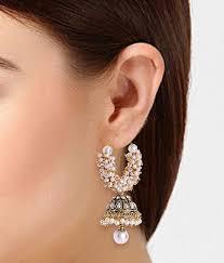 stylish earrings shining jewellery gold plated pearl stylish fancy party wear