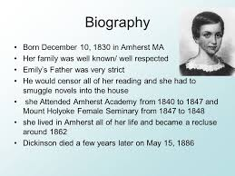 emily dickinson biography death who is emily dickinson by madison clark biography born december 10