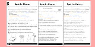 spot the clauses differentiated activity sheet pack gps
