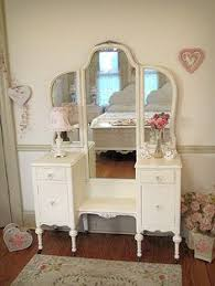 Antique Vanity With Mirror And Bench - beautiful pink antique vanity with tri fold mirror and cane bench