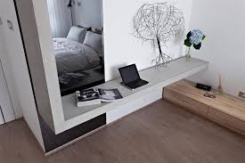 Concrete Bedroom Shelving Unit In Front Of Mirror Design Interior - Mirror design for bedroom