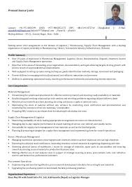Resume For Logistics Executive Resume Of Pramod Kumar