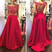 two piece prom dress a line off the shoulder backless with beaded