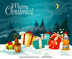 christmas gift box xmas night forest stock vector 520030654