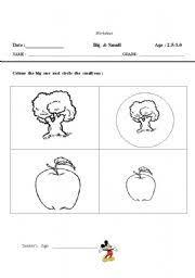 english worksheets big u0026 small