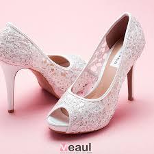 chaussures de mariage femme dentelle tete brillance strass de poisson blanc mariée de