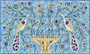 kitchen tile murals hand painted trees birds and palms