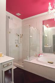 Pink And Black Bathroom Ideas Modern Black And Red Bathroom With Sink And Bathtub Stock Photo