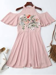 jewel neck cold shoulder floral embroidered dress pink casual