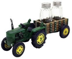 John Deere Home Decor Amazon Com Green Tractor And Wagon Salt U0026 Pepper Shaker Set