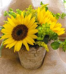 sunflower centerpieces simple sunflower and burlap centerpiece a in bloom event