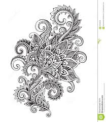 vector hand drawn ornate flower pattern in zentangle style stock