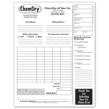 Job Work Invoice Format by Chem Dry Printing Invoices Work Orders Franchise Print Shop