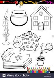 coloring book or page cartoon illustration of black and white home