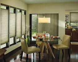 bathroom modern dining room with hunter douglas blinds for window